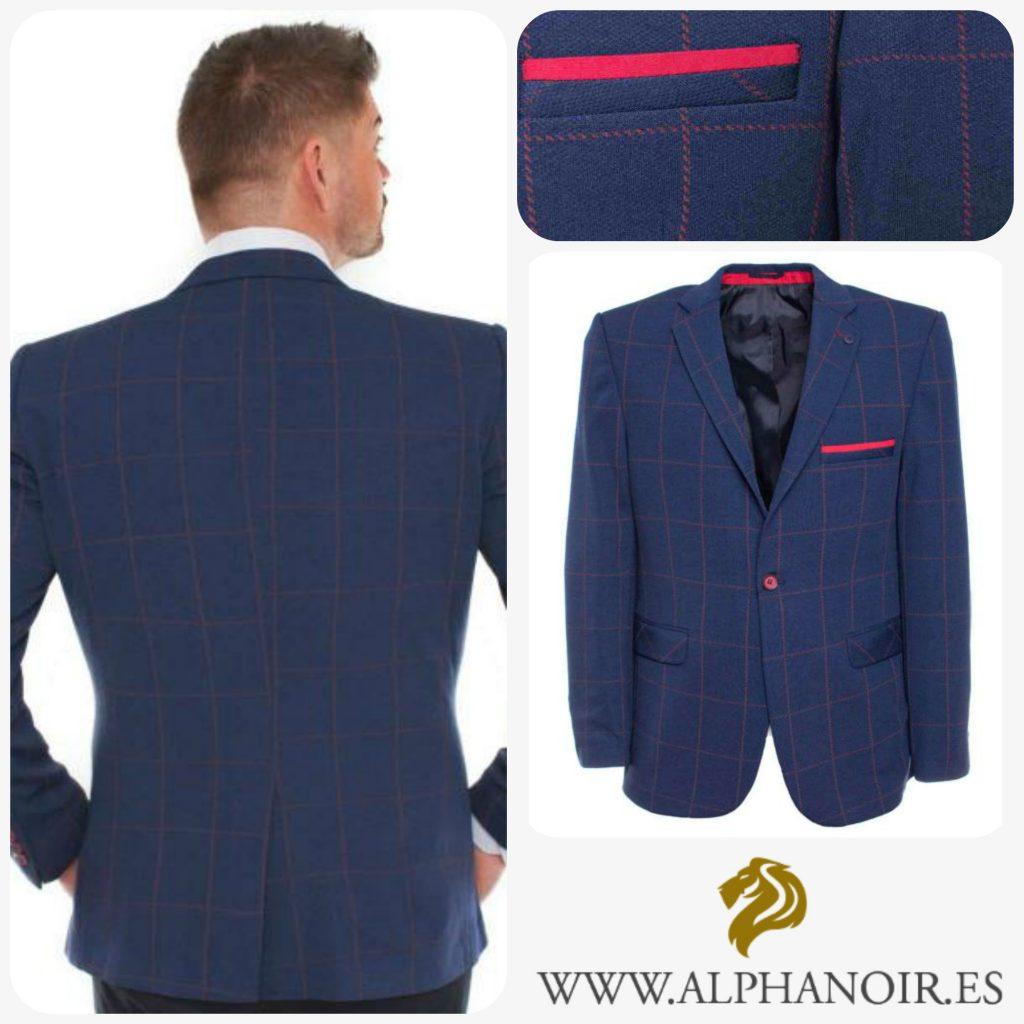 blazer azul de cuadros para hombre
