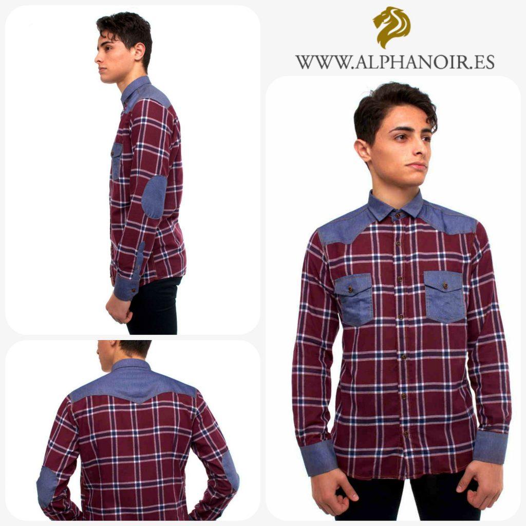 camisa vaquera con estampado cuadros