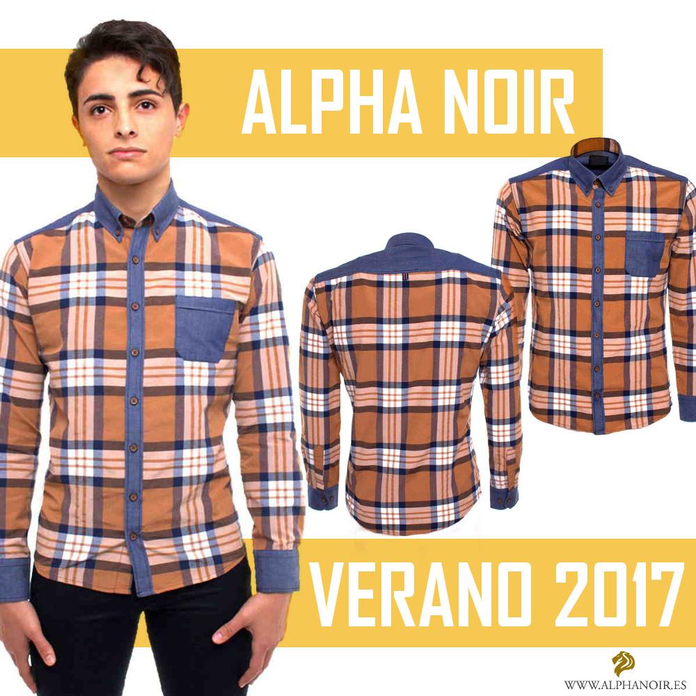 camisa amarilla de cuadros Alpha Noir