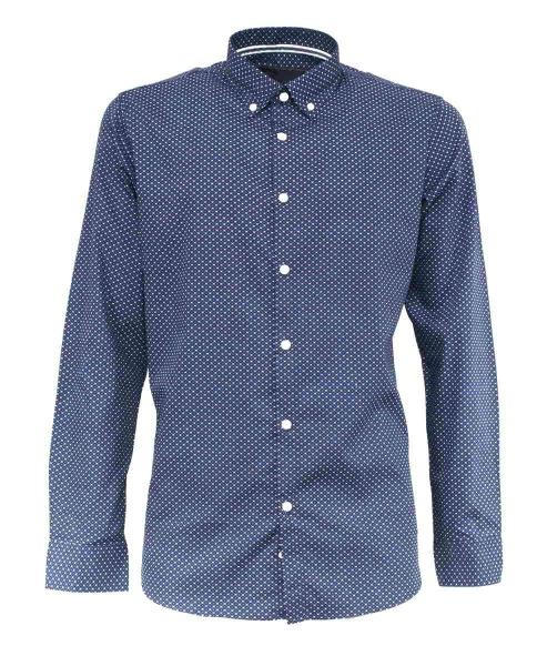 camisa azul marino estampado rombos