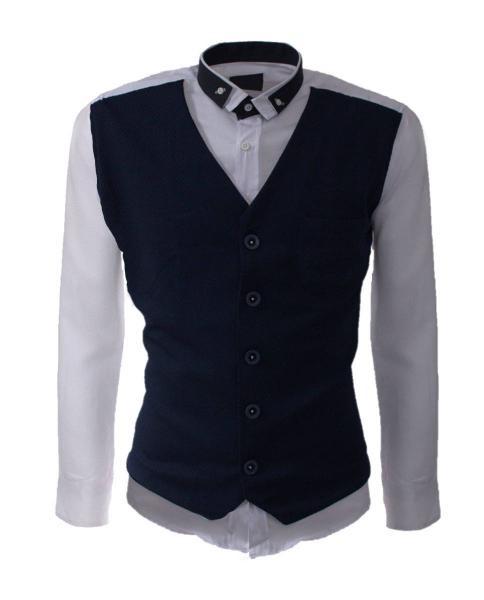 camisa blanca de manga larga con chaleco azul marino