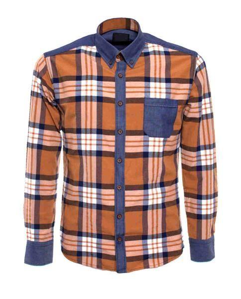 camisa casual denim de cuadros hombre