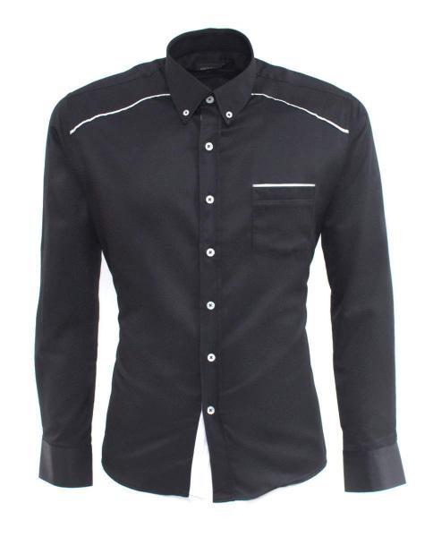 camisa de fiesta negra de manga larga