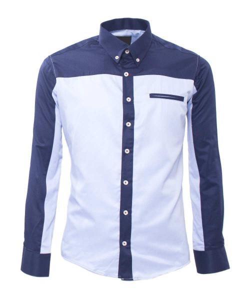 camisa informal dos tonos azul para hombre