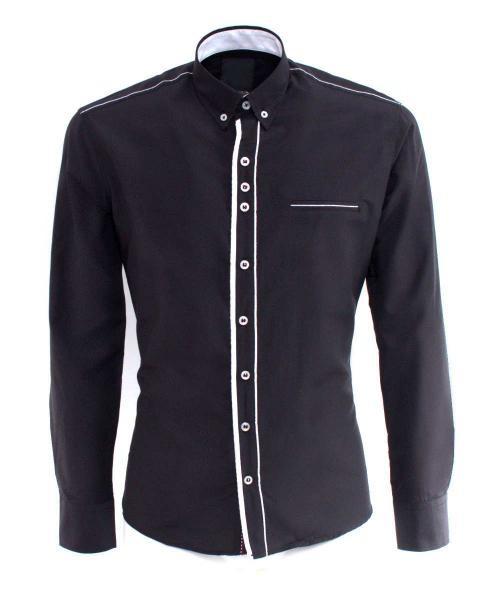 camisa negra informal de manga larga hombre