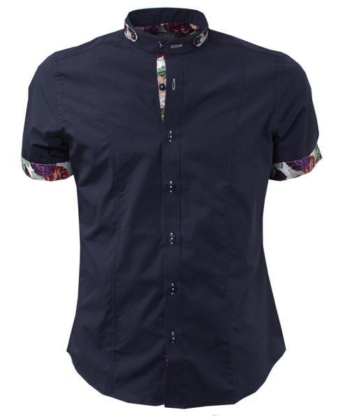 camisa negra informal estampada de manga corta