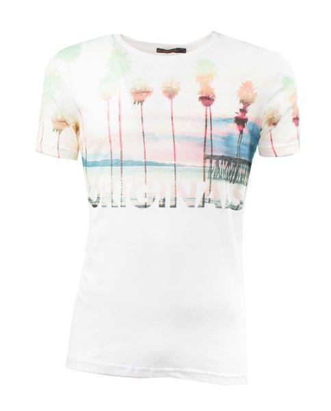 camiseta estampada de manga corta para hombre