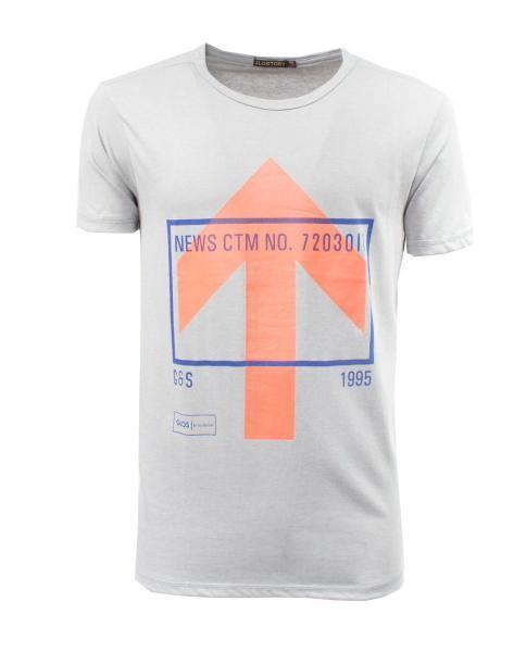 camiseta gris estampada de manga corta