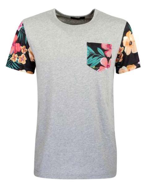 camiseta gris manga corta flores