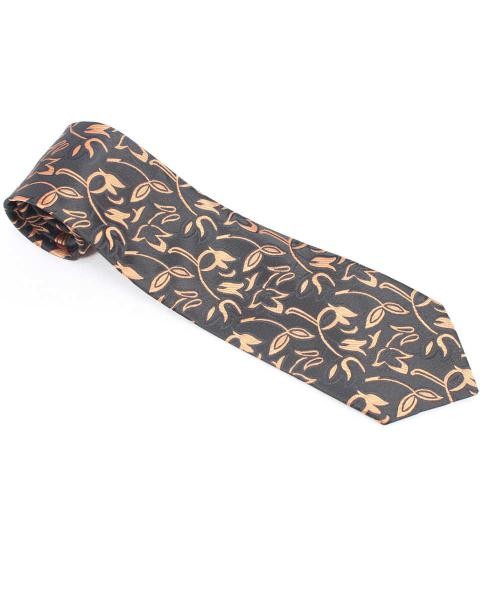 corbata negra estampada flores