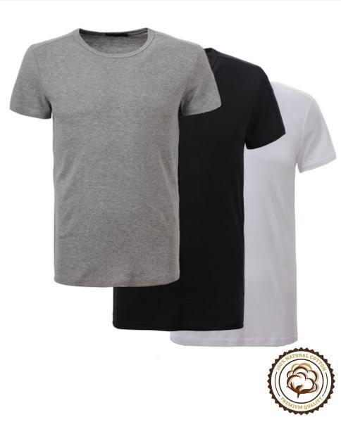 b1d3f2e21d9f0 Pack de 3 Camisetas Básicas de Algodón Alpha Noir - Moda Hombre