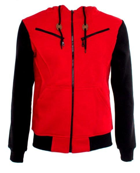 sudadera roja con manga larga y capucha