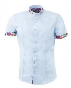 camisa azul claro de algodon estampado