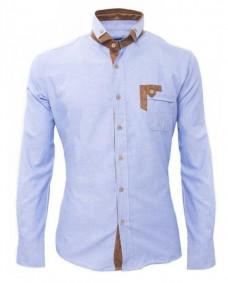 camisa azul de vestir formal con coderas