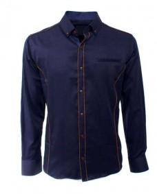 camisa azul marino de vestir de manga larga
