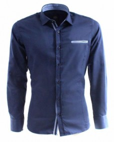camisa azul marino formal de hombre