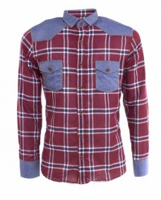 camisa roja casual denim con coderas