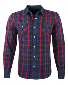 camisa de cuadros manga larga azul marino