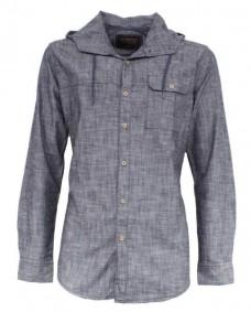 camisa gris manga larga con capucha