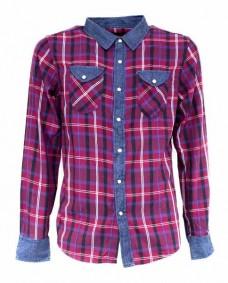 camisa roja de cuadros casual manga larga