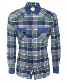 camisa verde tartan de hombre