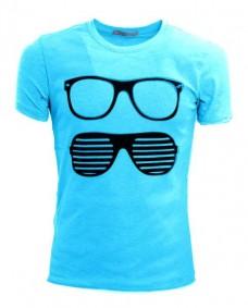 camiseta azul claro retro
