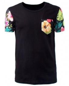 camiseta basica de manga corta de flores
