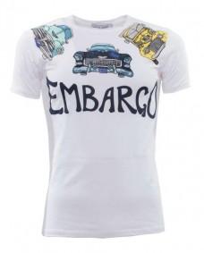 camiseta blanca retro de manga corta