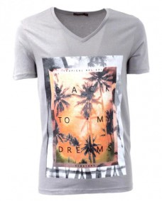 camiseta cuello v con estampado tropical