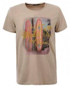 camiseta estampada de manga corta marron