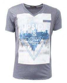 camiseta gris de manga corta hombre
