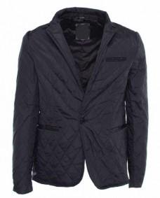 chaqueta negra acolchada casual de hombre