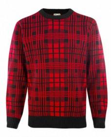 jersey tartan rojo y negro de punto