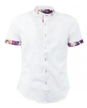 Camisa Blanca Floral de Manga Corta