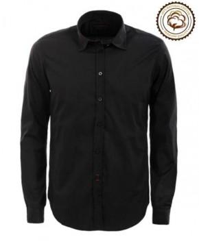 Camisa Negra de Algodón Manga Larga
