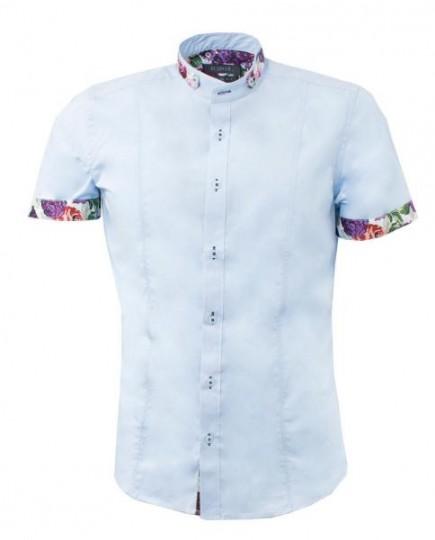 Camisa Azul Claro de Algodón Estampado