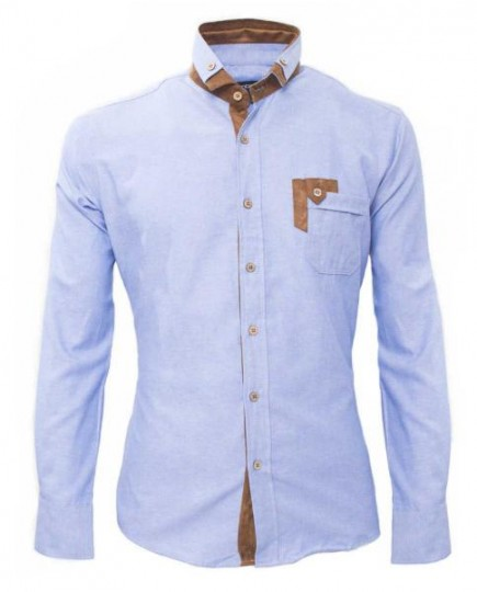 Camisa Bicolor Azul Claro de Hombre