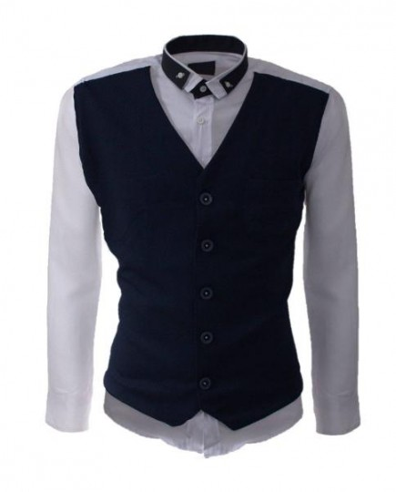 Camisa Blanca de Manga Larga con Chaleco