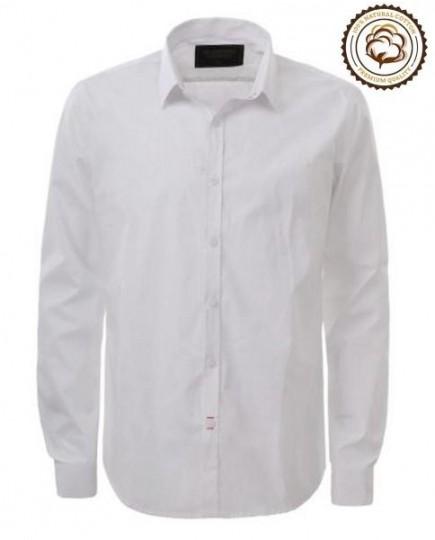 Camisa Lisa Blanca de Manga Larga