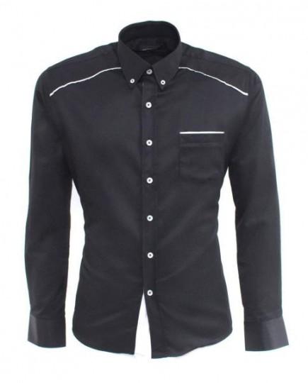 Camisa Negra Informal de Manga Larga
