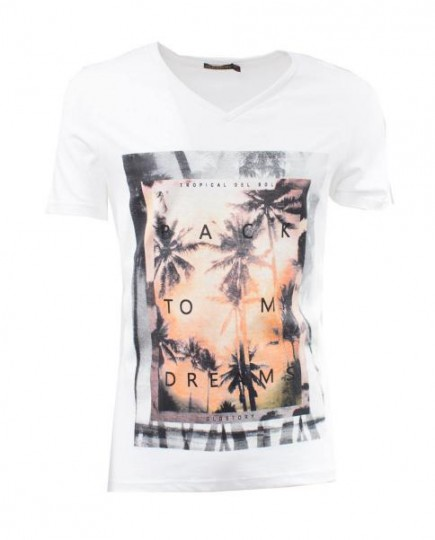 Camiseta con Estampado Tropical