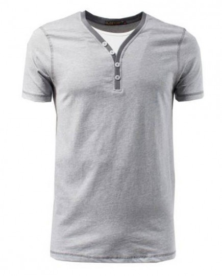 Camiseta Gris Doble Cuello Falso