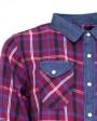 camisa denim roja a cuadros para hombre